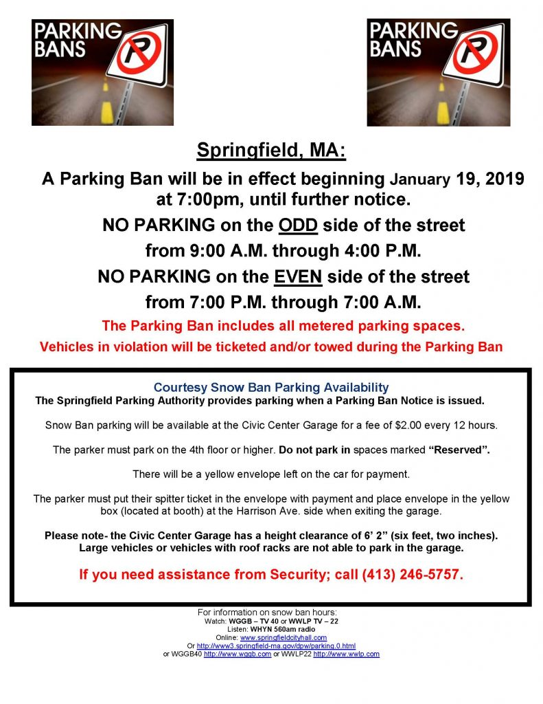 Snow Ban Parking News Release 1-19-19
